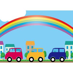 フリーイラスト, ベクター画像, AI, 背景, 乗り物, 自動車, 虹, 青空, 街(町), ドライブ