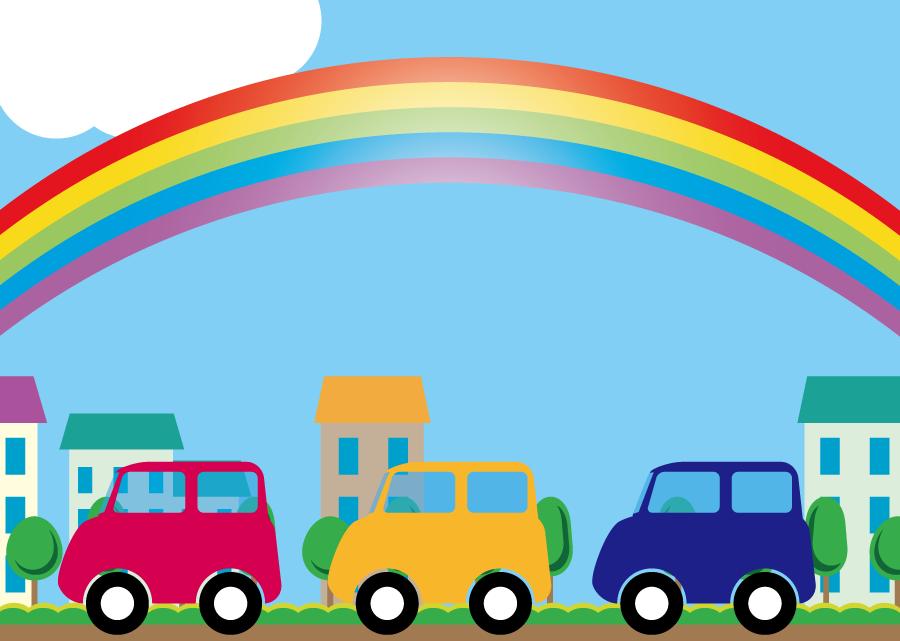 フリーイラスト 虹と街を走る車の背景