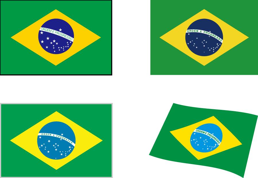 フリーイラスト 4種類のブラジルの国旗のセット