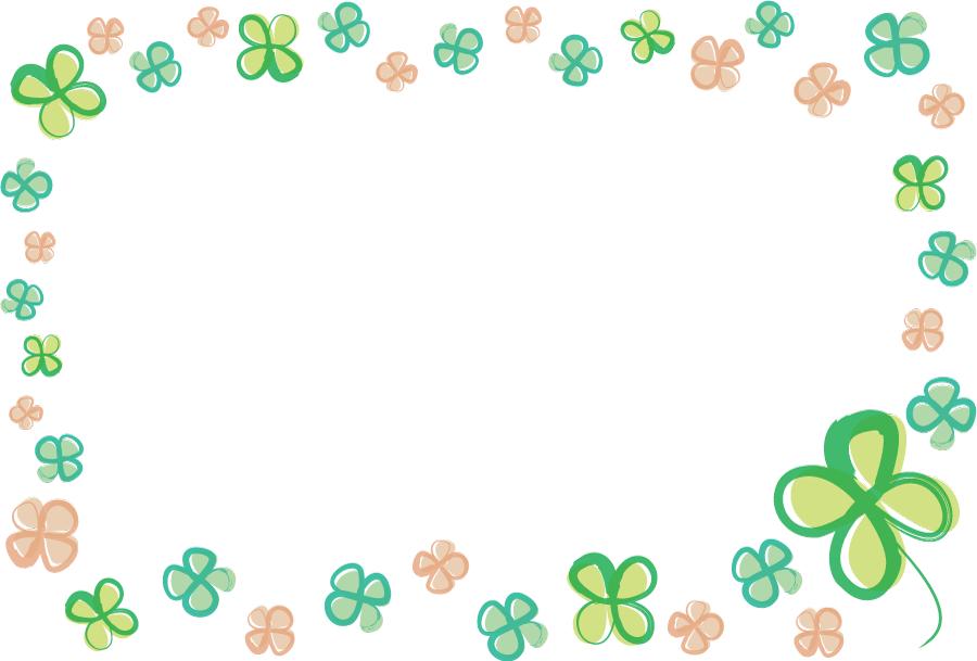 フリーイラスト 三色の四つ葉のクローバーの飾り枠