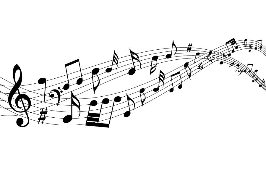 フリーイラスト 流れる音符の背景