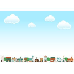 フリーイラスト, ベクター画像, AI, 背景, 青空, 雲, 建造物, 建築物, 街(町), 街並み(町並み)