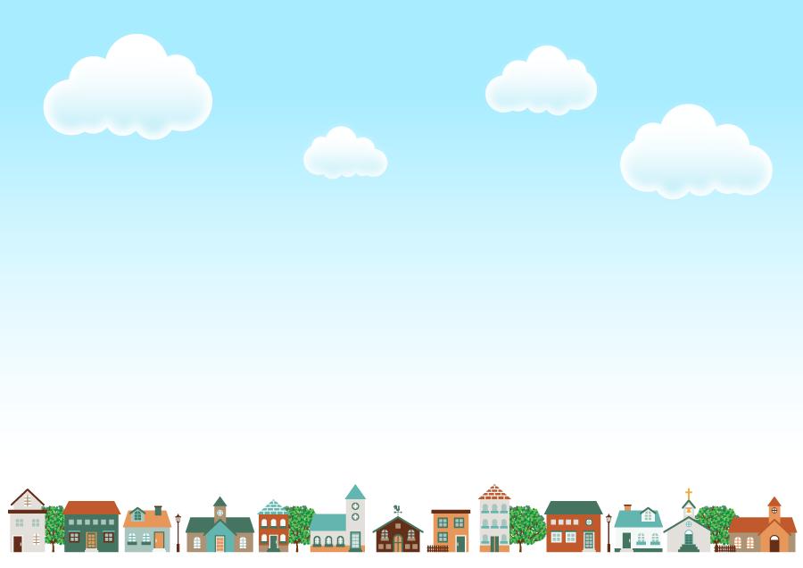 フリーイラスト 青空と建物の並ぶ街の背景