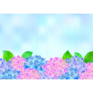 フリーイラスト, ベクター画像, AI, 背景, 6月, 梅雨, 雨, 植物, 花, 紫陽花(アジサイ)