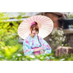 フリー写真, 人物, 女性, アジア人女性, 欣欣(00001), 中国人, 和服, 浴衣, 日傘