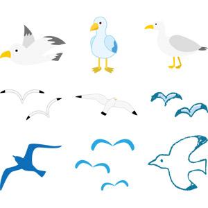 フリーイラスト, ベクター画像, AI, 動物, 鳥類, 鳥(トリ), 鴎(カモメ), シルエット(動物)