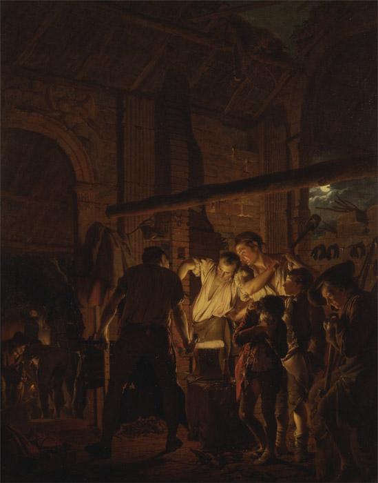 フリー絵画 ジョセフ・ライト作「鍛冶屋の仕事場」