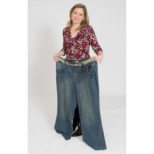 フリー写真, 人物, 女性, 外国人女性, アメリカ人, ダイエット, 肥満(メタボ), ジーンズ(ジーパン), 白背景