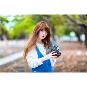 フリー写真, 人物, 女性, アジア人女性, 欣欣(00001), 中国人, カメラ, 二眼レフカメラ