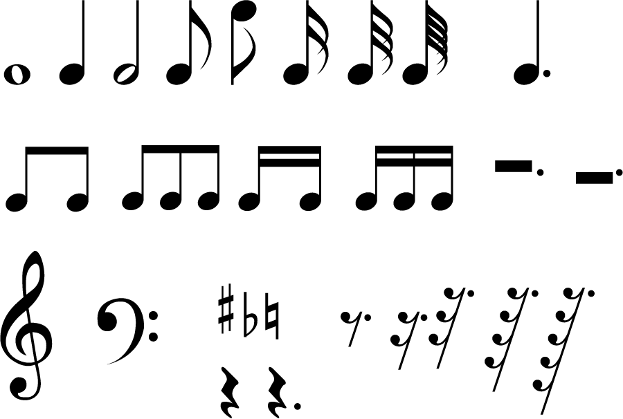 フリーイラスト 音符と音部記号と変化記号のセット