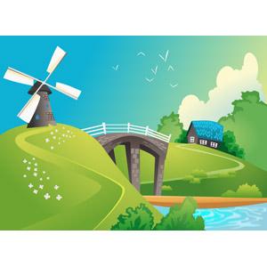 フリーイラスト, ベクター画像, AI, 風景, 田舎, 風車, 橋, 河川, 家(一軒家)