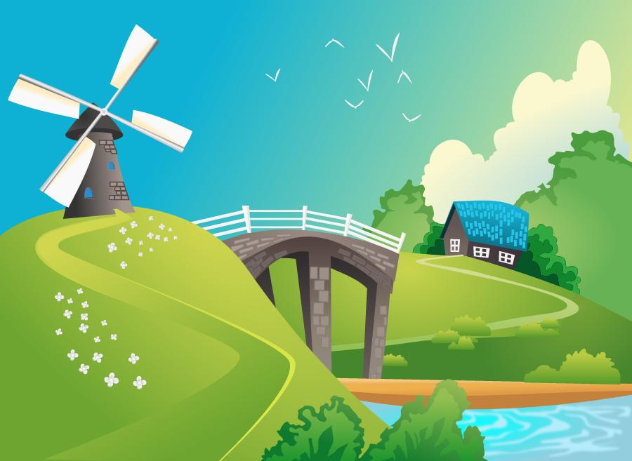 フリーイラスト 風車と橋のある田舎の風景