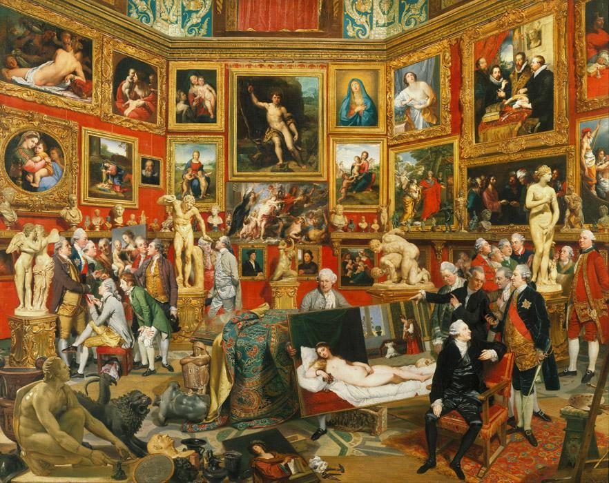 フリー絵画 ヨハン・ゾファニー作「ウフィツィ美術館のトリブーナ」
