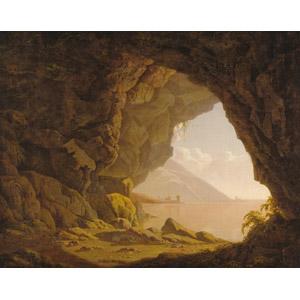 フリー絵画, ジョセフ・ライト, 風景画, 自然, 洞窟, 海, イタリアの風景, ナポリ