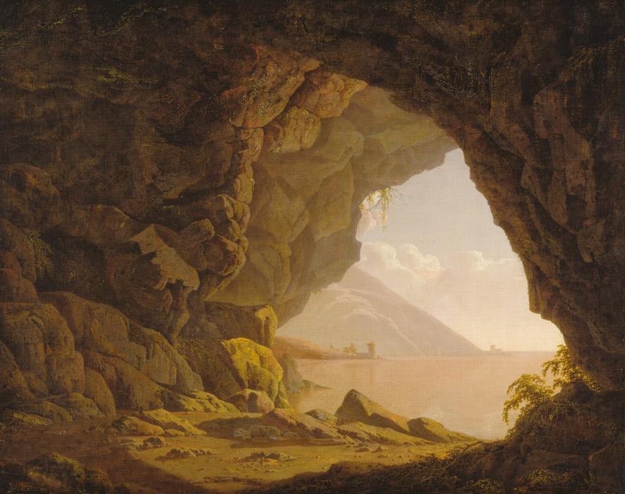 フリー絵画 ジョセフ・ライト作「ナポリ近郊の洞窟」
