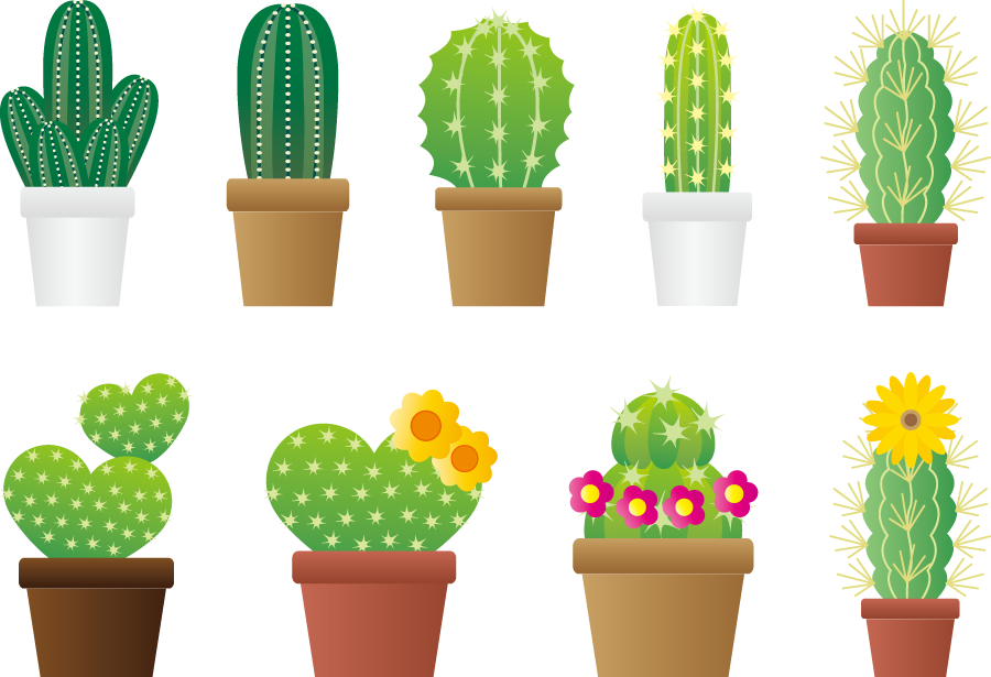 フリーイラスト 9種類の鉢植えのサボテンのセット