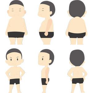 フリーイラスト, ベクター画像, AI, 人物, 男性, ダイエット, 肥満(メタボ), 後ろ姿