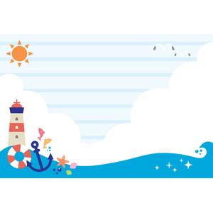 フリーイラスト, ベクター画像, AI, 背景, 夏, 海, 積乱雲(入道雲), 灯台(ライトハウス), 浮き輪, 鴎(カモメ), 碇(いかり), 太陽