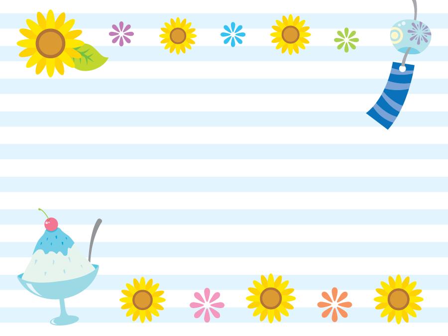 フリーイラスト ひまわりと風鈴とかき氷の飾り枠
