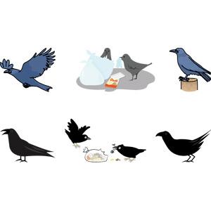 フリーイラスト, ベクター画像, AI, 動物, 鳥類, 鳥(トリ), 烏(カラス), ゴミ, ゴミ袋