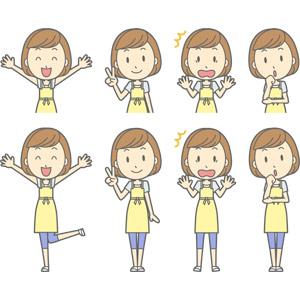 フリーイラスト, ベクター画像, AI, 人物, 女性, 女性(00193), 主婦, 母親(お母さん), エプロン, 万歳(バンザイ), 喜ぶ(嬉しい), ピースサイン(Vサイン), 驚く, 衝撃(ショック), 悩む, 考える