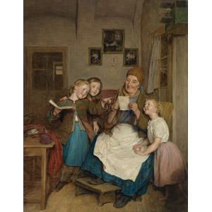 フリー絵画, フェルディナント・ゲーオルク・ヴァルトミュラー, 人物画, 風俗画, 老人, 祖母(おばあさん), 子供, 女の子, 孫, 読む(読書), 手紙