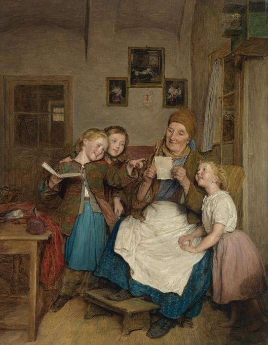 フリー絵画 フェルディナント・ゲーオルク・ヴァルトミュラー作「三人の孫とおばあさん」