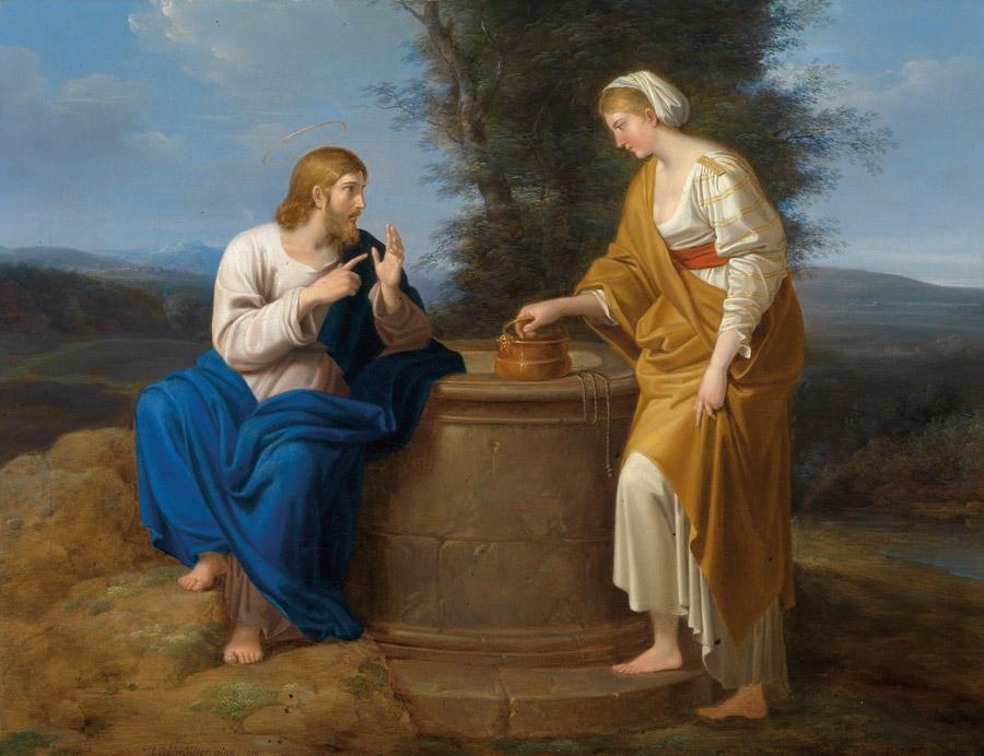 フリー絵画 フェルディナント・ゲーオルク・ヴァルトミュラー作「キリストとサマリアの女」