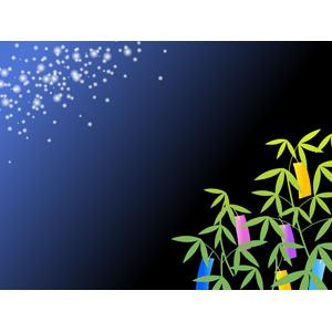 フリーイラスト, ベクター画像, AI, 背景, フレーム, 対角フレーム, 年中行事, 7月, 七夕, 笹飾り, 短冊, 天の川, 夜, 星(スター)