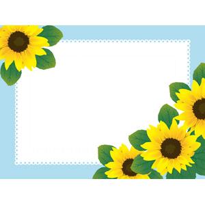 フリーイラスト, ベクター画像, AI, 背景, フレーム, 囲みフレーム, 植物, 花, 向日葵(ヒマワリ), レース編み, 黄色の花, 夏