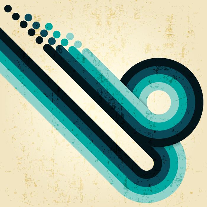 フリーイラスト 青緑色の曲線の背景