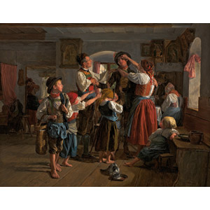 フリー絵画, フェルディナント・ゲーオルク・ヴァルトミュラー, 風俗画, 家族, 父親(お父さん), 母親(お母さん), 兄妹(姉弟), 息子, 娘, 握手, 猫(ネコ), 飲む(動物), 出兵