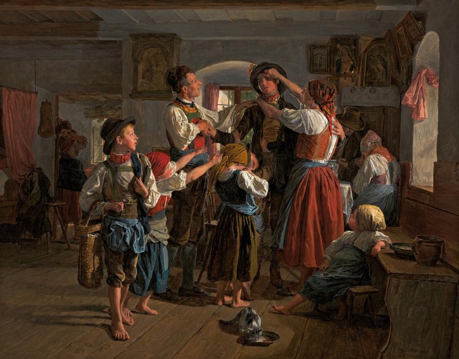 フリー絵画 フェルディナント・ゲーオルク・ヴァルトミュラー作「徴兵の出発」