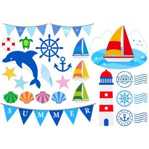 フリーイラスト, ベクター画像, AI, 夏, フラッグガーランド, イルカ, 船, ヨット, 灯台(ライトハウス), 貝殻, スタンプ, 浮き輪, 舵, 碇(いかり), ヒトデ