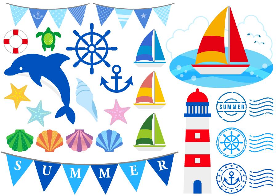 フリーイラスト ヨットやイルカなどの夏の海関連のセット