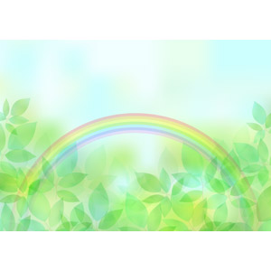フリーイラスト, ベクター画像, AI, 背景, 植物, 葉っぱ, 新緑, 虹