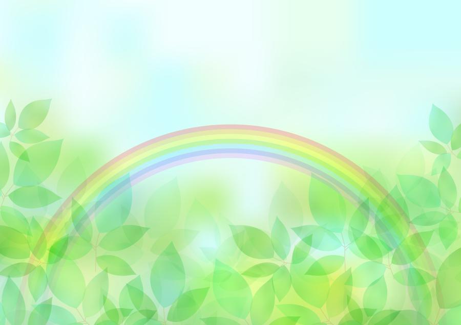 フリーイラスト 新緑の葉と虹の背景