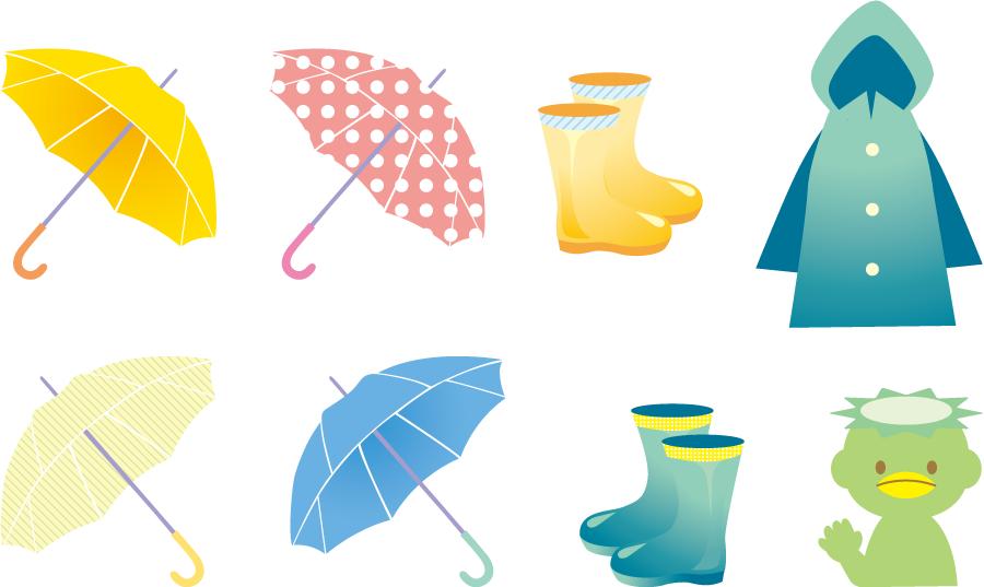 フリーイラスト 雨具のセット