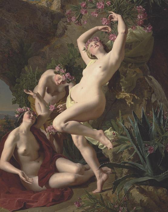 フリー絵画 フェルディナント・ゲーオルク・ヴァルトミュラー作「バラの花と三美神」