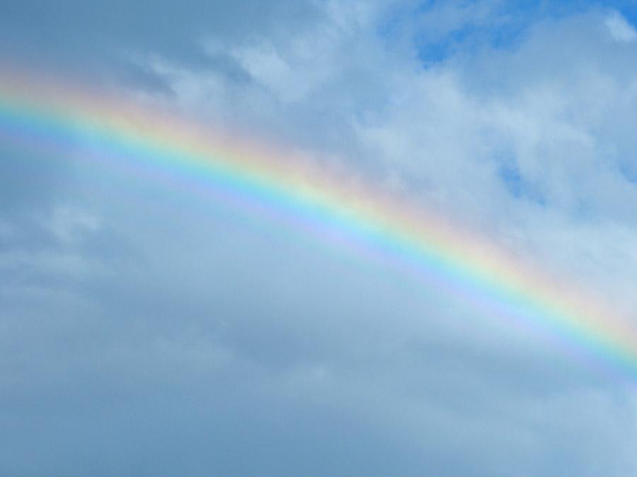 フリー写真 曇り空に架かる虹