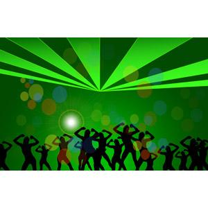 フリーイラスト, ベクター画像, AI, 背景, 人物, シルエット(人物), 踊る(ダンス), クラブ(ディスコ), 緑色(グリーン), 光(ライト), 集団(グループ)