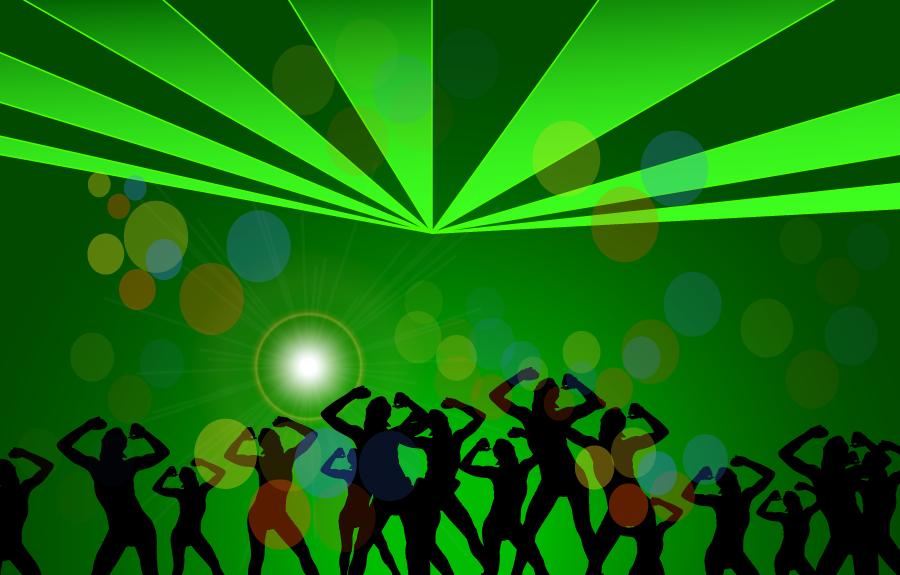 フリーイラスト ディスコで踊る人々のシルエット