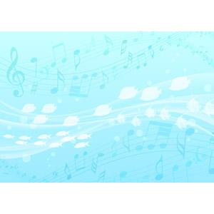 フリーイラスト, ベクター画像, AI, 背景, 水中, 魚(サカナ), 音楽, 楽譜, 音符, 青色(ブルー)