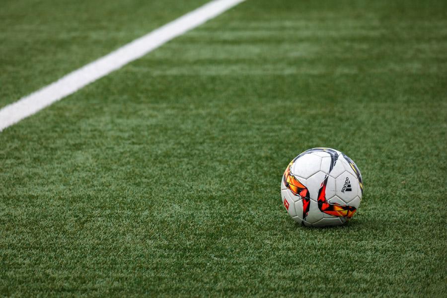 フリー写真 ピッチ上にあるサッカーボール