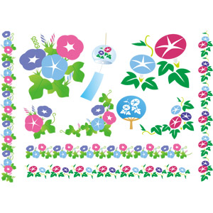 フリーイラスト, ベクター画像, EPS, 植物, 花, 朝顔(アサガオ), 夏, 飾り罫線(ライン), 風鈴, うちわ