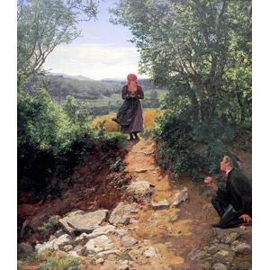 フリー絵画, フェルディナント・ゲーオルク・ヴァルトミュラー, 風俗画, 少女, 少年, 告白, 人と花, 片膝をつく, 跪く