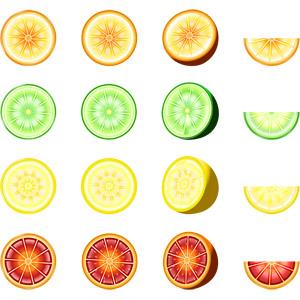 フリーイラスト, ベクター画像, AI, 食べ物(食料), 果物(フルーツ), オレンジ, ライム, レモン