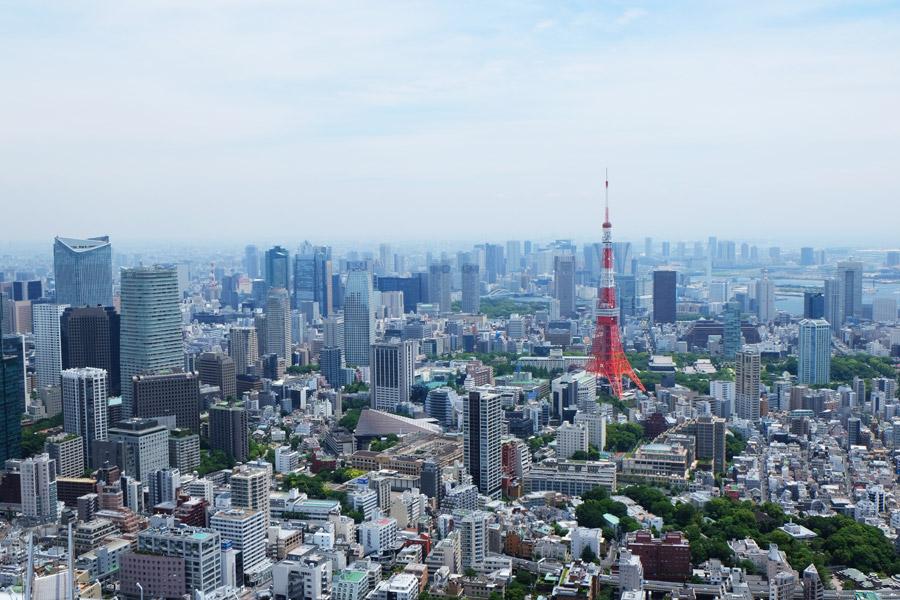 フリー写真 東京タワーのある東京都港区の街並み