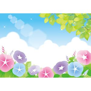 フリーイラスト, ベクター画像, AI, 風景, 植物, 花, 朝顔(アサガオ), 葉っぱ, 新緑, 夏, 雲, 積乱雲(入道雲)
