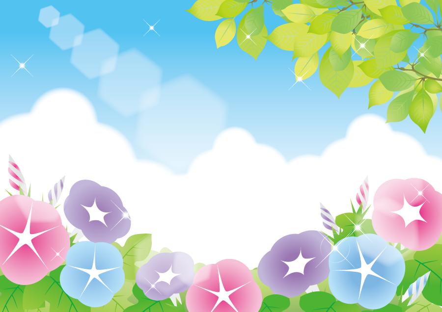 フリーイラスト あさがおの花と新緑の風景